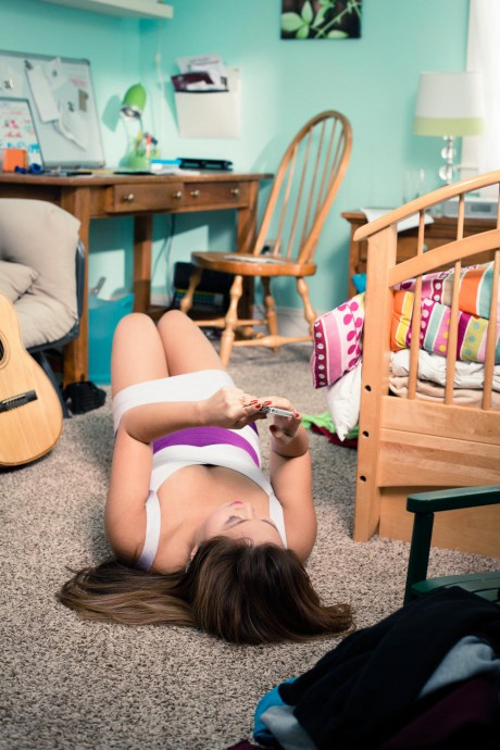 Girl on Floor of her room